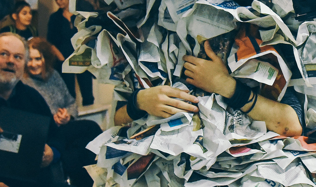 newspaper costume - trans-art performance
